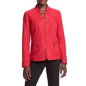 Studio Works Red Faux Suede Jacket
